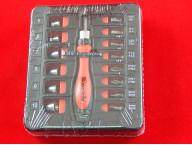 Реверсивная отвертка MATRIX с набором бит и торцевых головок 23шт CrV
