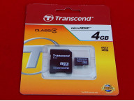 Карта памяти Micro SDHC 4Gb Transcend, Class 4, адаптер