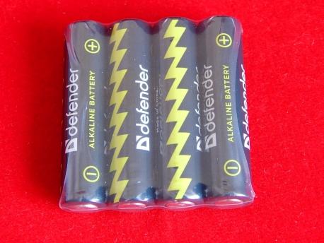 Батарейка Defender LR03-4F, AAA, 1,5В, 4шт