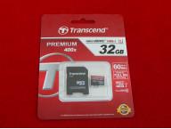Карта памяти Micro SDHC 32Gb Transcend, Class 10, Premium 400x, адаптер