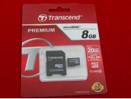 Карта памяти MicroSDHC 8GB Class 10 Transcend Premium адаптер